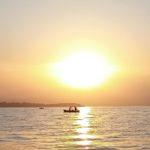 pesca all' agone al tramonto