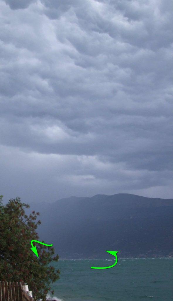vento di tempesta sul lago di garda