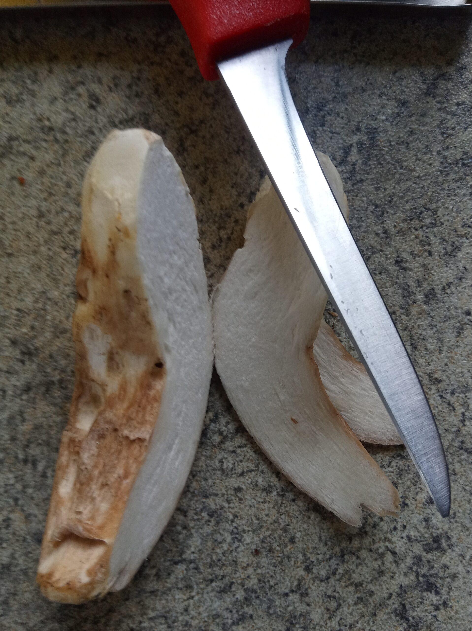 tagliare longitudinalmente  i funghi